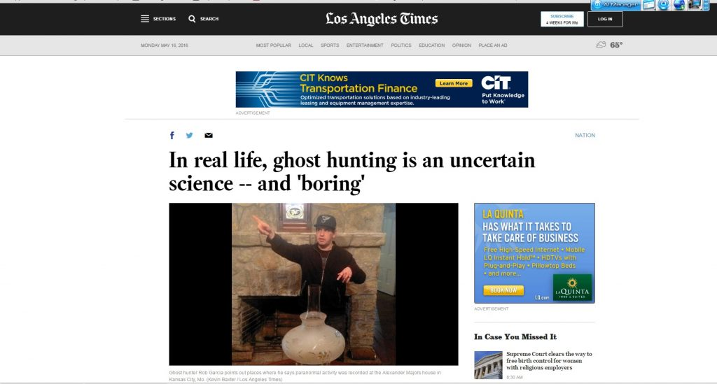 ELITE Paranormal in the LA Times.